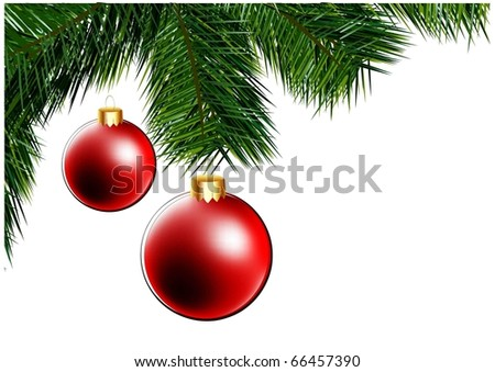 christmas vector background with christmas tree and ball - stock vector