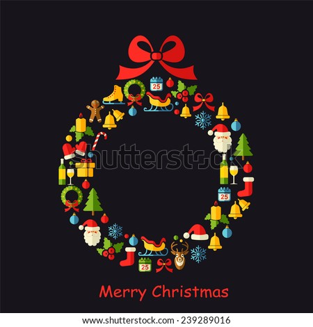 Christmas vector background with Christmas wreath on black