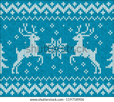 """Christmas vector background with embroidery """"Deers"""" on blue background - stock vector"""