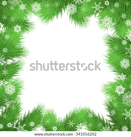 Christmas vector background with fir twigs, christmas tree branches border - stock vector