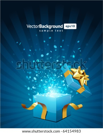 Christmas vector background with open gift - stock vector