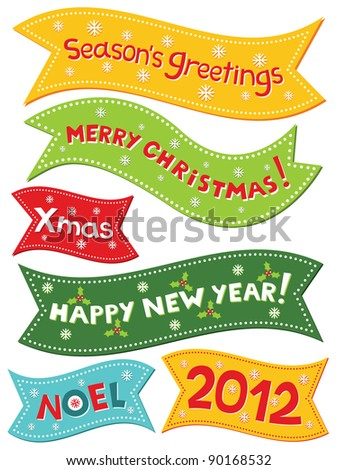 Christmas vector banners, lettering set - stock vector
