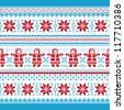 Christmas vector card - traditional knitted pattern - stock