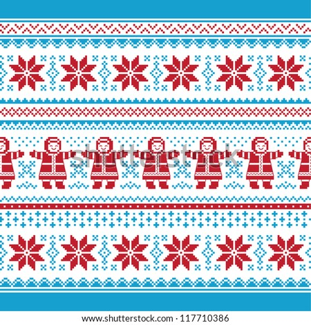 Christmas vector card - traditional knitted pattern - stock vector