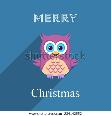 Christmas vector card with cute owl flat design - stock vector