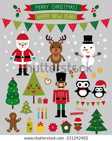 Christmas vector characters and design elements set - stock vector