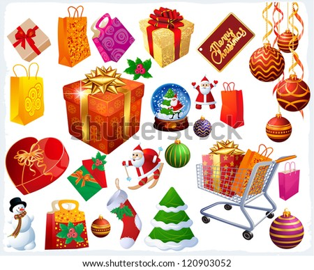 Christmas vector design elements and icons. - stock vector