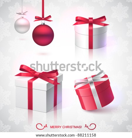 Christmas vector design elements, Christmas balls, gifts, pattern - stock vector
