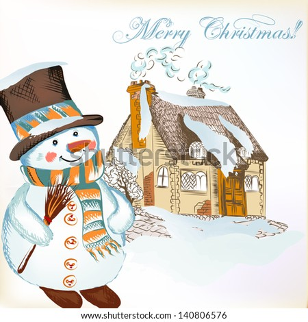 Christmas vector hand drawn card in sketch style with snowman and cute house - stock vector
