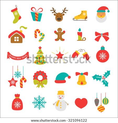 Christmas vector icon set - stock vector