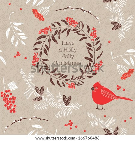 Christmas vector illustration - bird with ash-berries.  - stock vector