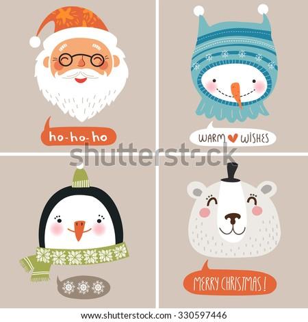 Christmas  vector illustration. Cute face - stock vector