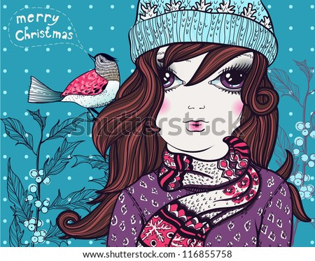 Christmas vector illustration of  a  pretty girl  with a little bird