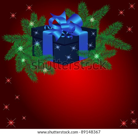 Christmas vector illustration with fur-tree branches and a gift box on a red background
