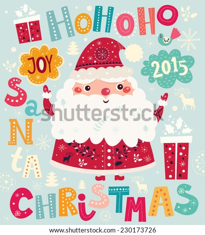 Christmas vector illustration with Santa Claus - stock vector