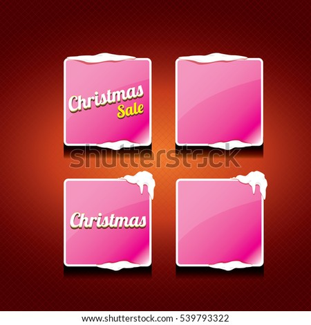 Christmas vector pink glossy buttons set on classic red background. web pink christmas sale buttons with snow, ice border