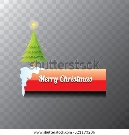 Christmas vector red glossy button with green cartoon christmas tree and christmas lights. web red christmas button with snow, ice border and transparent shadow