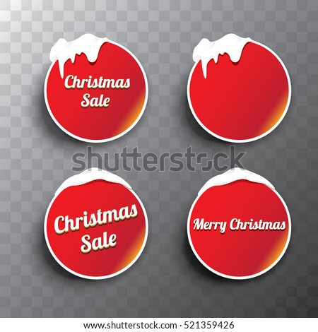 Christmas vector red glossy buttons set with transparent shadow. web red christmas buttons with snow, ice border and merry christmas text