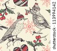 Christmas vector seamless pattern with fantasy birds and holly berries - stock vector