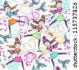 Christmas vector seamless pattern with skating girls - stock vector