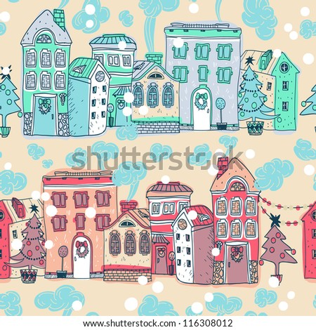 Christmas vector seamless pattern with vintage houses - stock vector