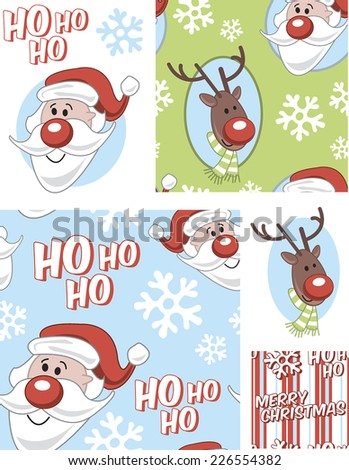 Christmas Vector Seamless Patterns. Use as fills, digital paper, or print off onto fabric to create unique items. - stock vector