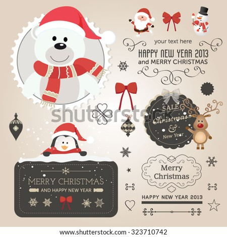 Christmas vector set - labels, emblems and other decorative elements. Funny Santa Claus and friends - stock vector