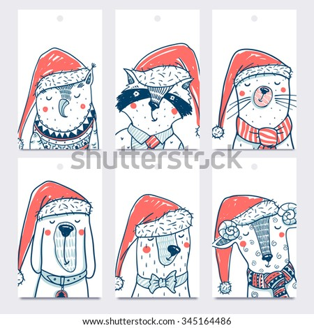 Christmas vector set of colored tags with funny animals