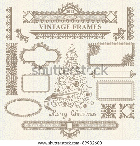 Christmas vector vintage elements collection on seamless pattern. Frames, bordes, tree