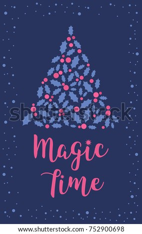 Christmas Vertical Banner Snow Symbols Xmas Stock Vector 752900698