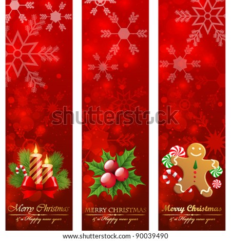 Christmas vertical banners. - stock vector