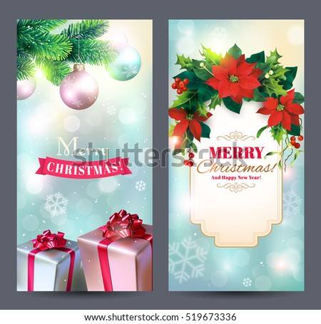 Christmas vertical banners with Christmas decoration, fir branches, poinsettia flowers, gifts and greeting. Vector set.