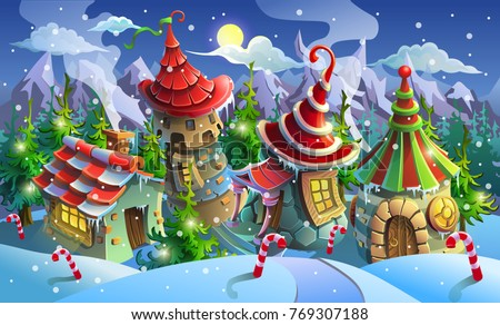 Christmas Village Of Santa Claus Fairy Houses Elves Vector Illustration Panorama