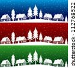 Christmas village with snow seamless pattern - hand drawn illustration - stock