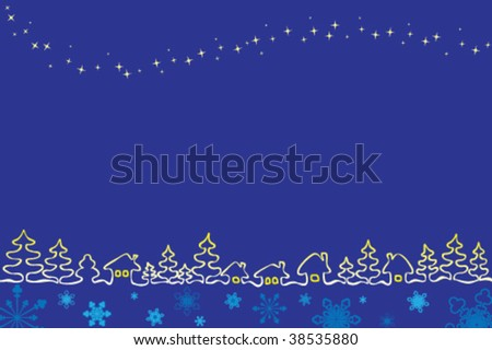 Christmas village with stars and snowflakes - stock vector