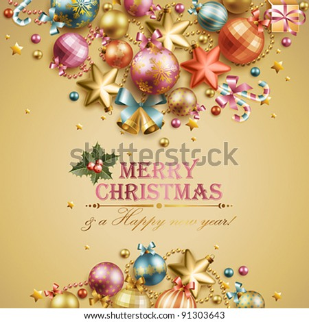 Christmas vintage background. Vector illustration. - stock vector