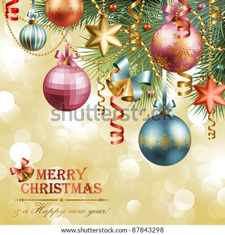 Christmas vintage background with baubles and christmas tree. Check my portfolio for raster version. - stock vector
