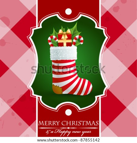 Christmas vintage background with gifts in sock. - stock vector