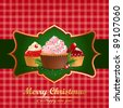 Christmas vintage background with pastry. - stock vector