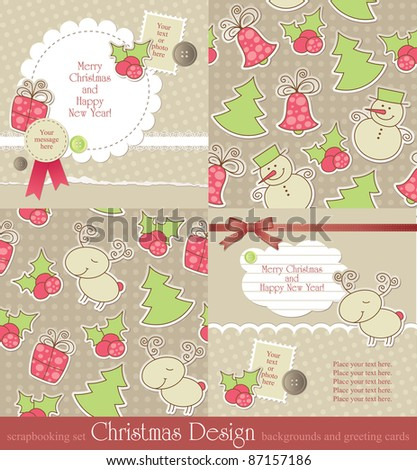 christmas vintage backgrounds and cards. vector set