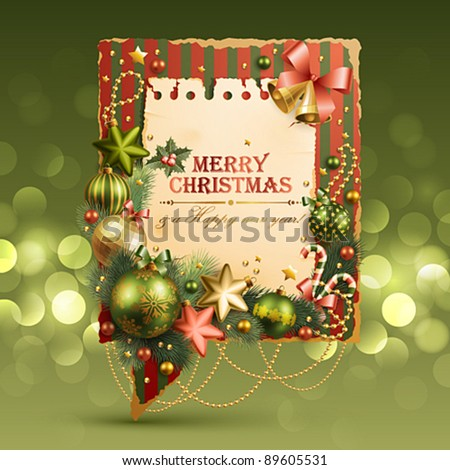 Christmas vintage bubble with baubles and place for text. Vector illustration. - stock vector