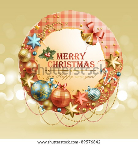 Christmas vintage bubble with baubles and place for text. Vector illustration. Check my portfolio for raster version. - stock vector