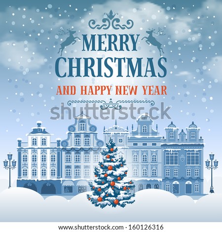 Christmas vintage card with the urban landscape and decorated fir tree. Detailed vector picture.  - stock vector