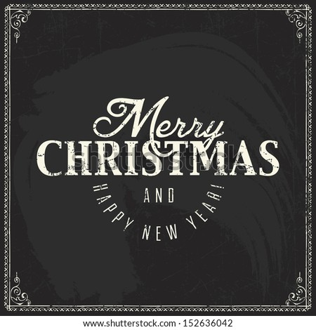 Christmas vintage chalk text label on a blackboard - stock vector