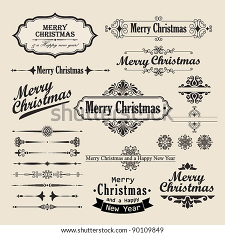 Christmas vintage design elements and letterning. - stock vector