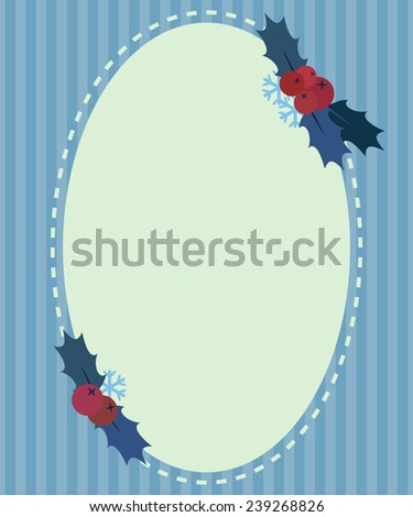 Christmas vintage design greeting card background, with berry and oak leafs, vector illustration - stock vector