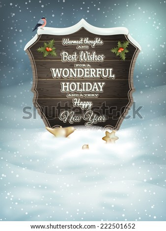 Christmas vintage greeting card on winter landscape. EPS 10 vector file included - stock vector