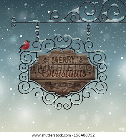 Christmas vintage greeting card - wooden signboard. - stock vector