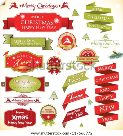 Christmas vintage labels and elements vector - stock vector