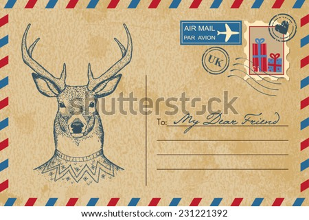 Christmas vintage postcard with deer - stock vector